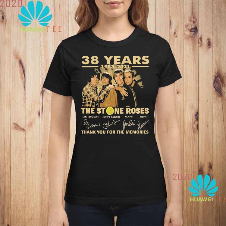 38 Years 1983 2021 The Stone Roses Thank You For The Memories Signatures Shirt ladies-shirt