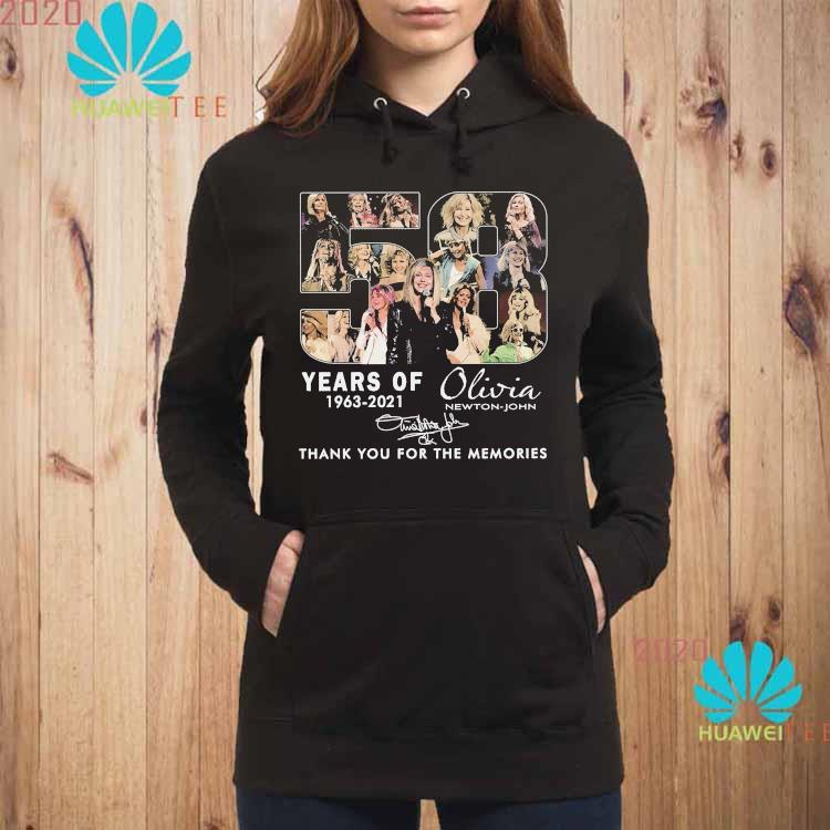 58 Years Of 1963 2021 Olivia Newton John Thank You For The Memories Signature Shirt hoodie