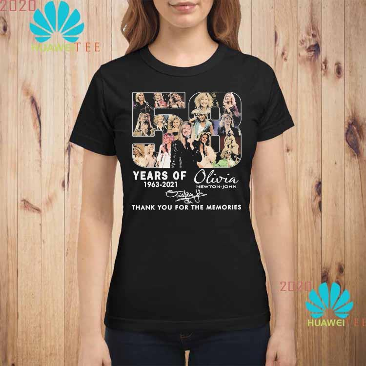 58 Years Of 1963 2021 Olivia Newton John Thank You For The Memories Signature Shirt ladies-shirt
