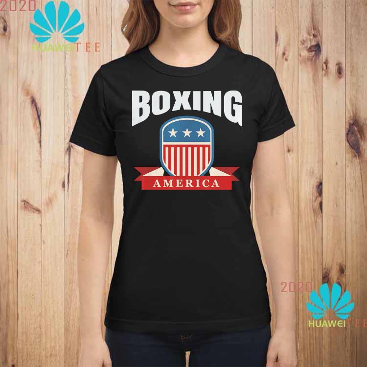 Boxing America Contact Sport Ringside Apparel Usa Shirt ladies-shirt