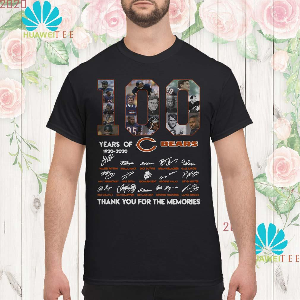100 years of 1920-2020 Chicago Bears signatures men shirt
