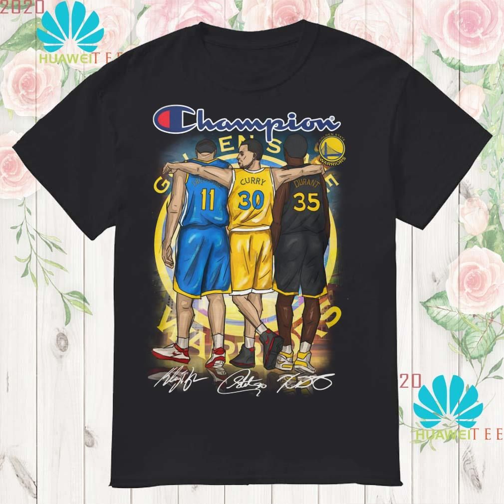 Golden States Warriors Champions Kevin Durant Stephen Curry Klay Thompson signed shirt