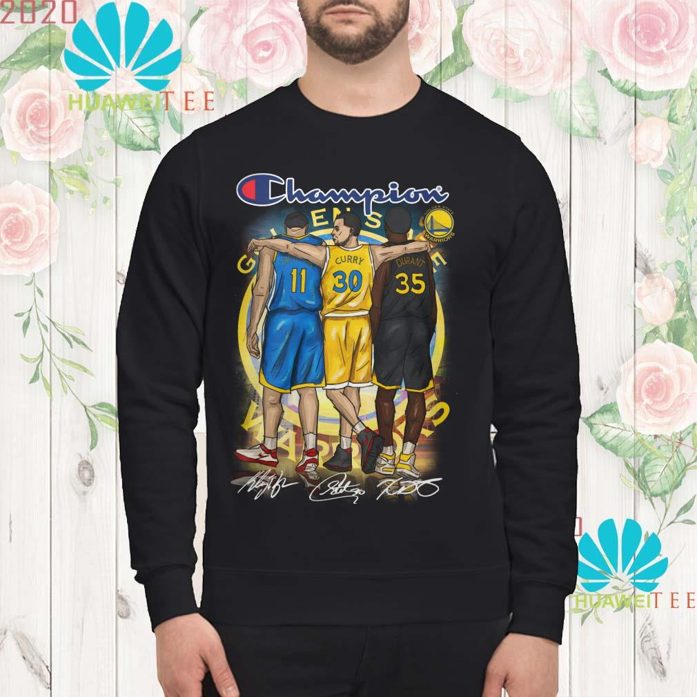 Golden States Warriors Champions Kevin Durant Stephen Curry Klay Thompson signed sweatshirt