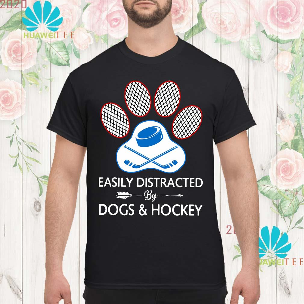 Paw easily distracted dogs and hockey Men shirt