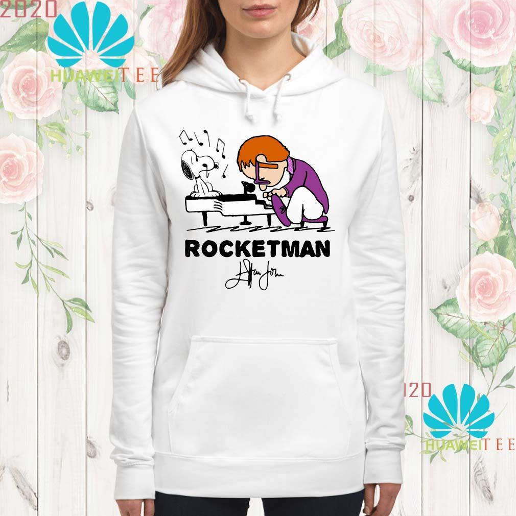Snoopy and Rocketman John Elton play piano hoodie