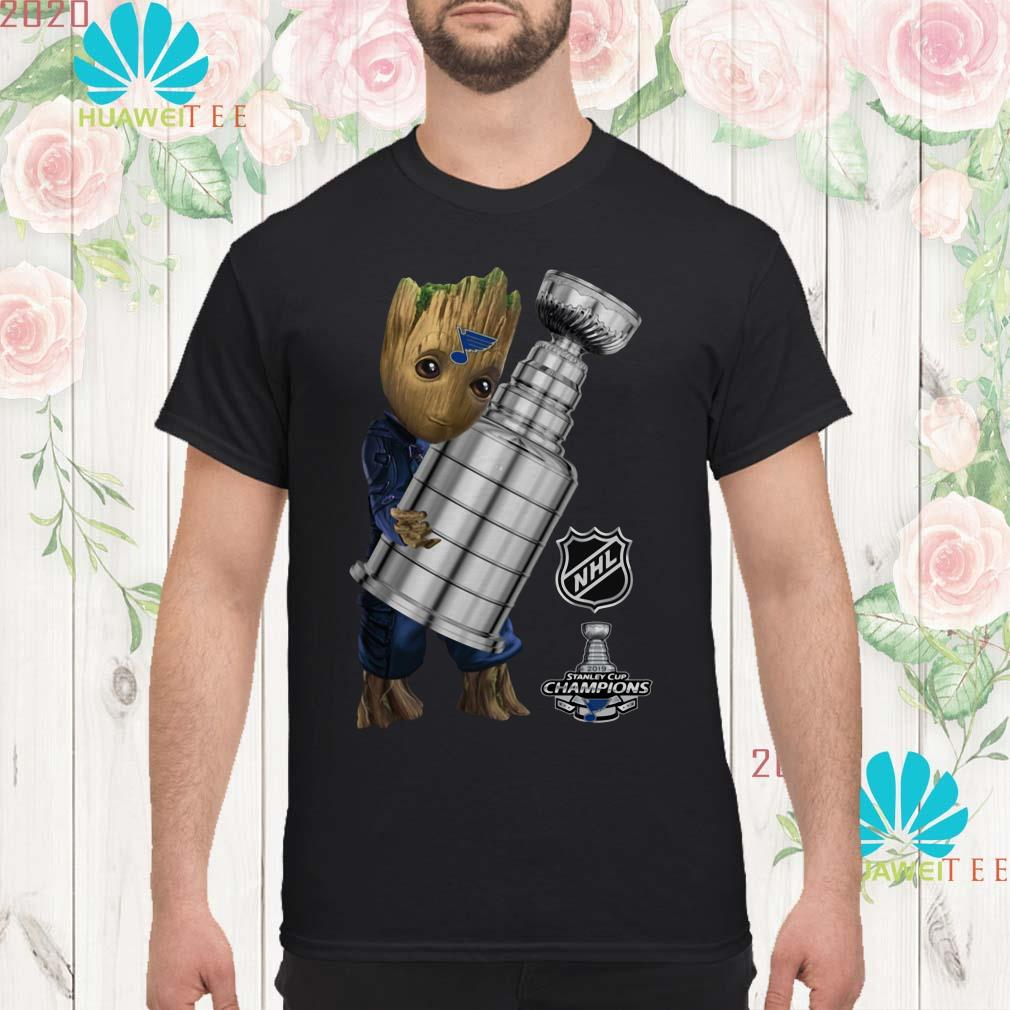 online store c40b7 5fac6 St. Louis Blues Baby Groot Hug Stanley Cup Champions 2019