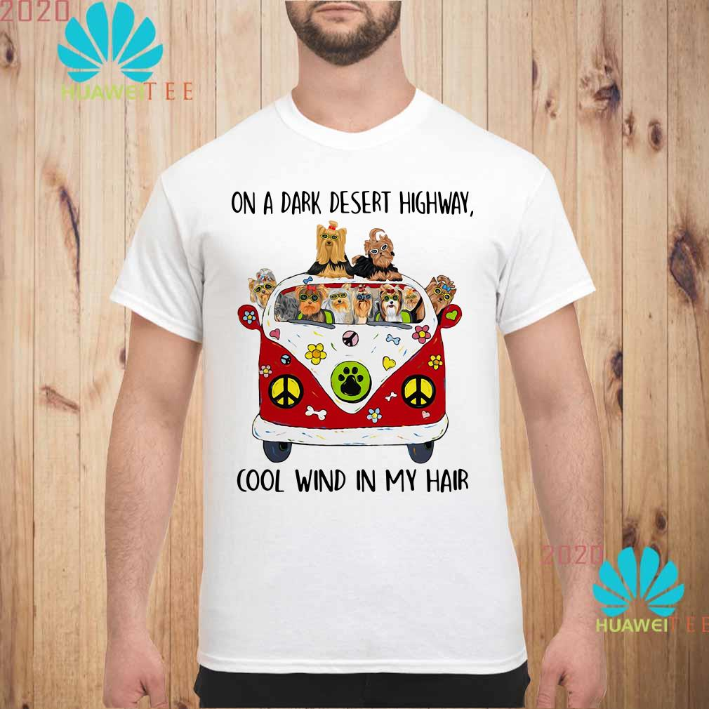 Yorkshire Terrier on a dark desert highway cool wind in my hair Men shirt