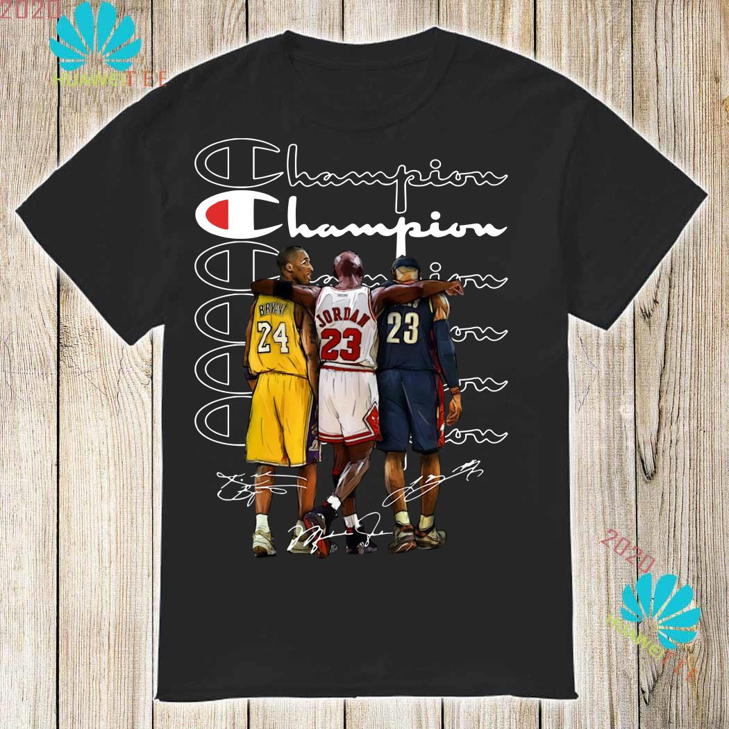 the best attitude 89294 a38db Kobe Bryant, Michael Jordan and LeBron James Champion signatures shirt