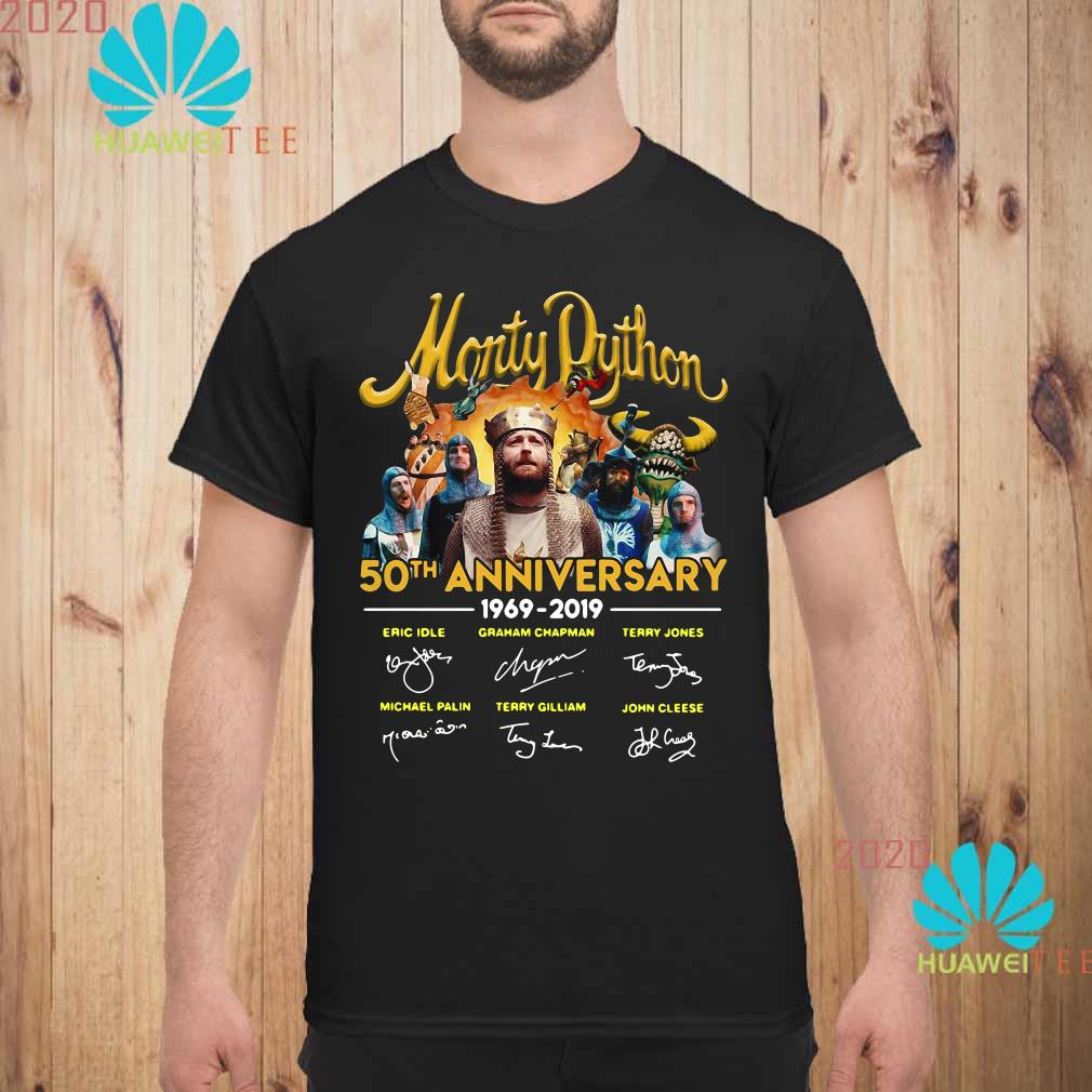 Man anniversary Monty Python 50th Anniversary 19692019 signatures shirt New Collection T shirt for Woman