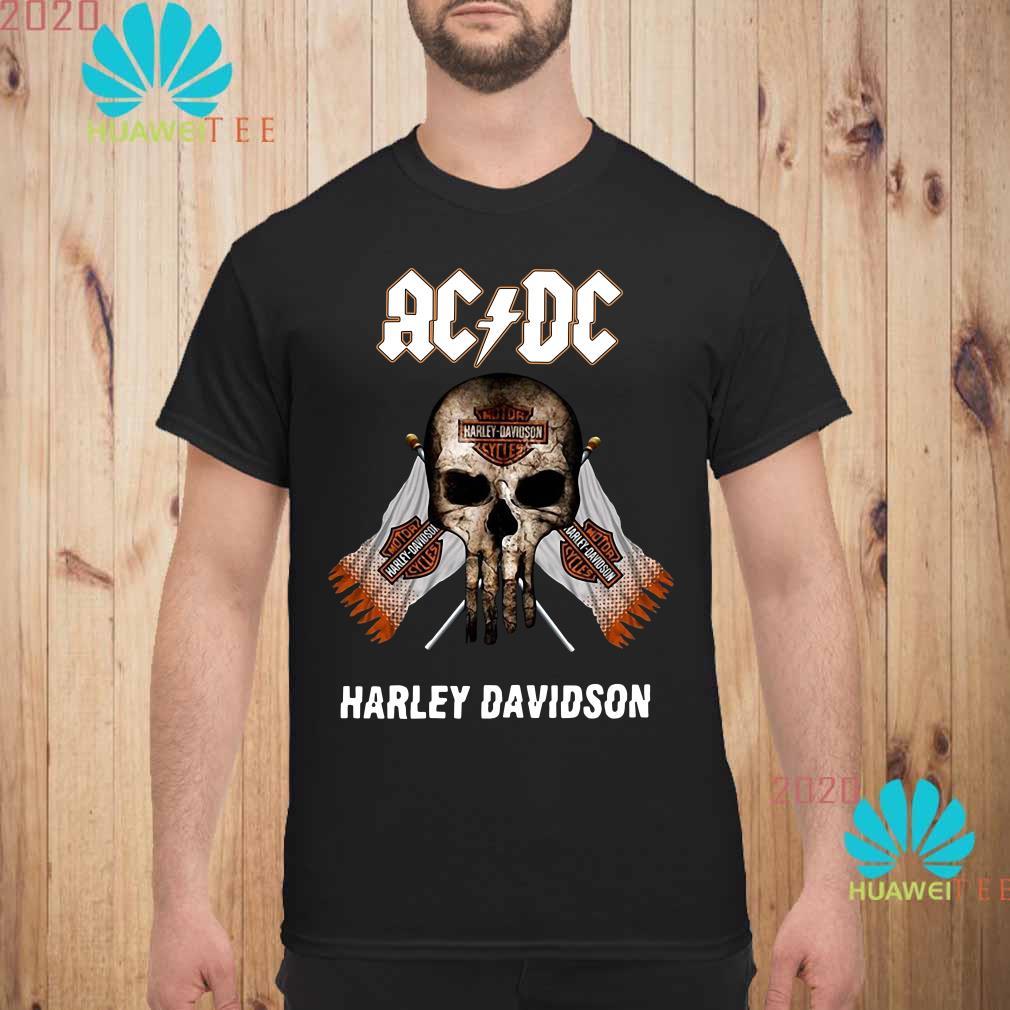 AC DC Harley Davidson skull Men shirt