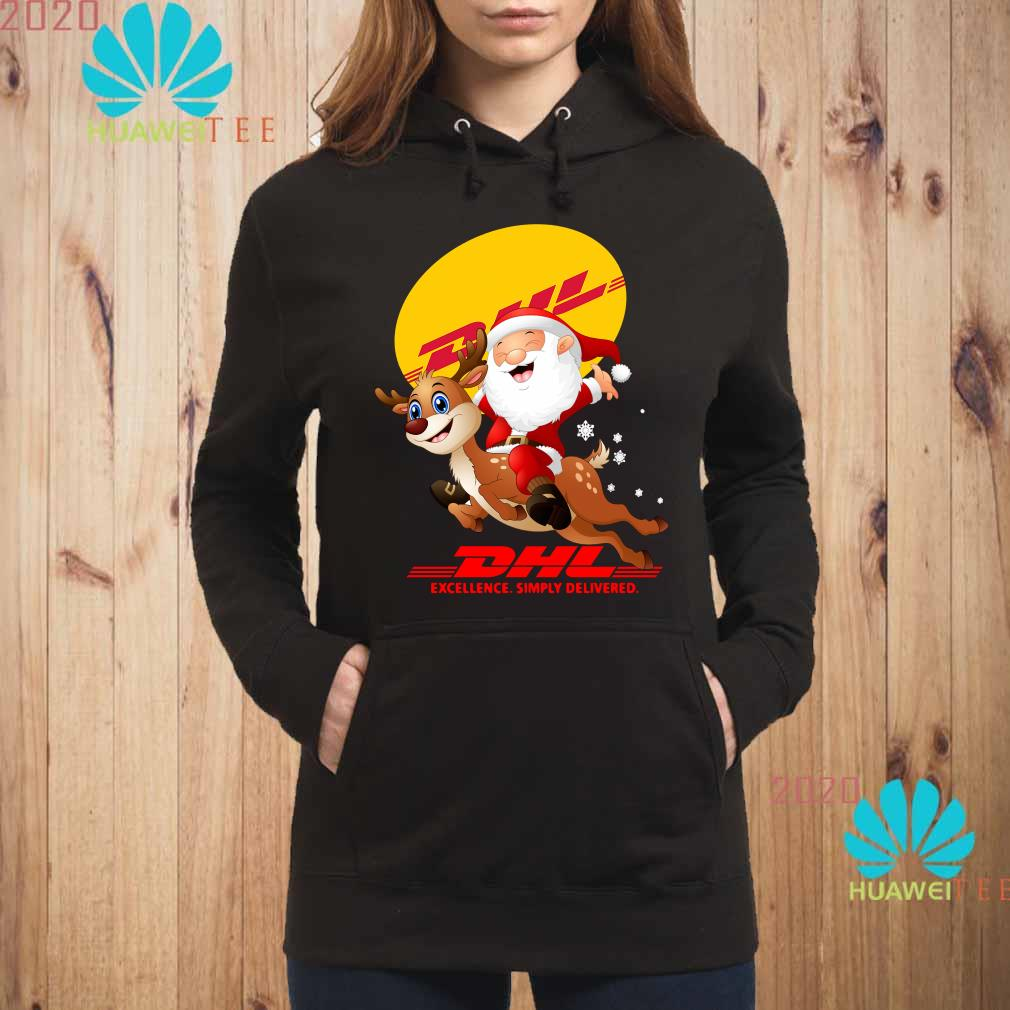 Santa Claus Riding Reindeer DHL Excellence Simply Delivered Hoodie