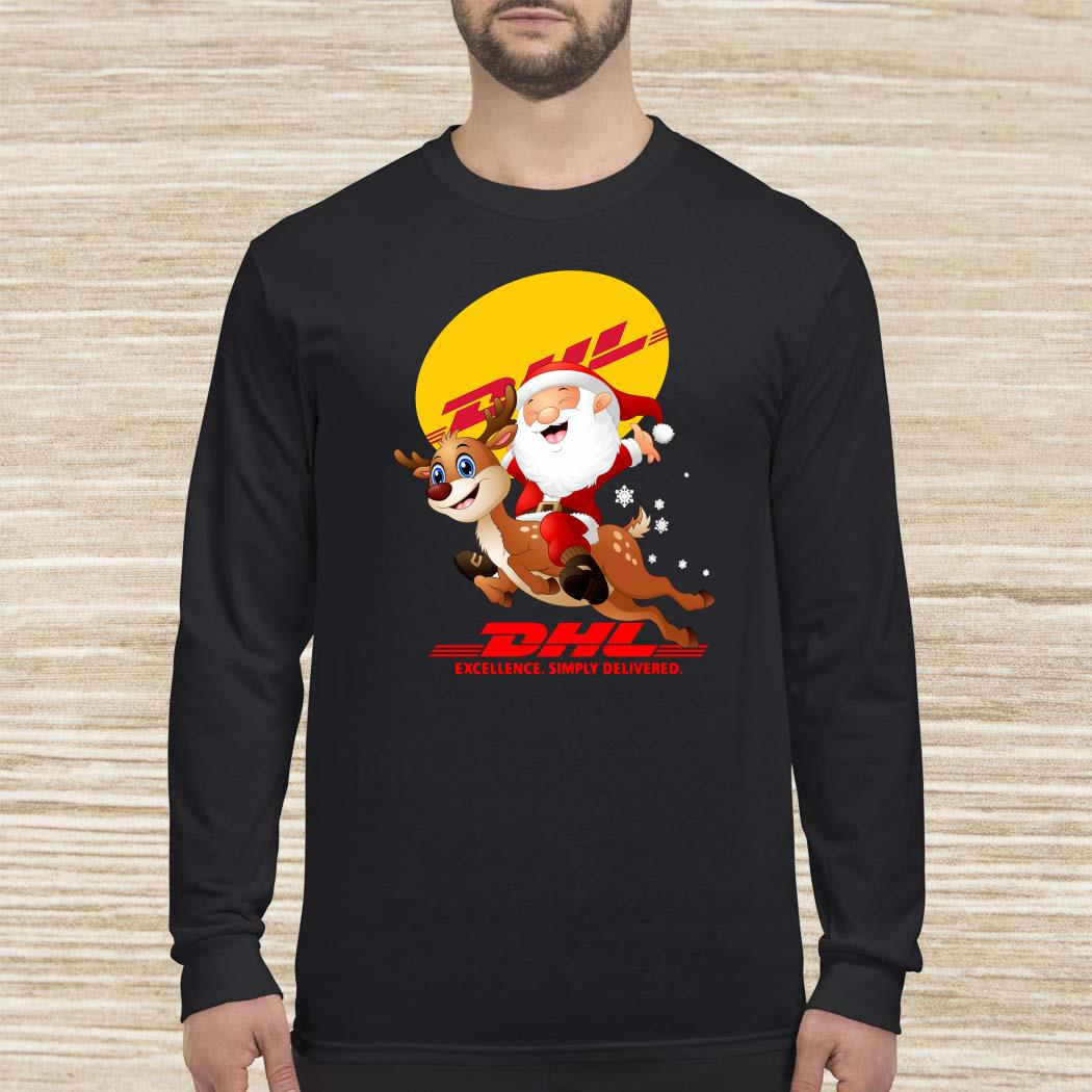 Santa Claus Riding Reindeer DHL Excellence Simply Delivered Long-sleeved