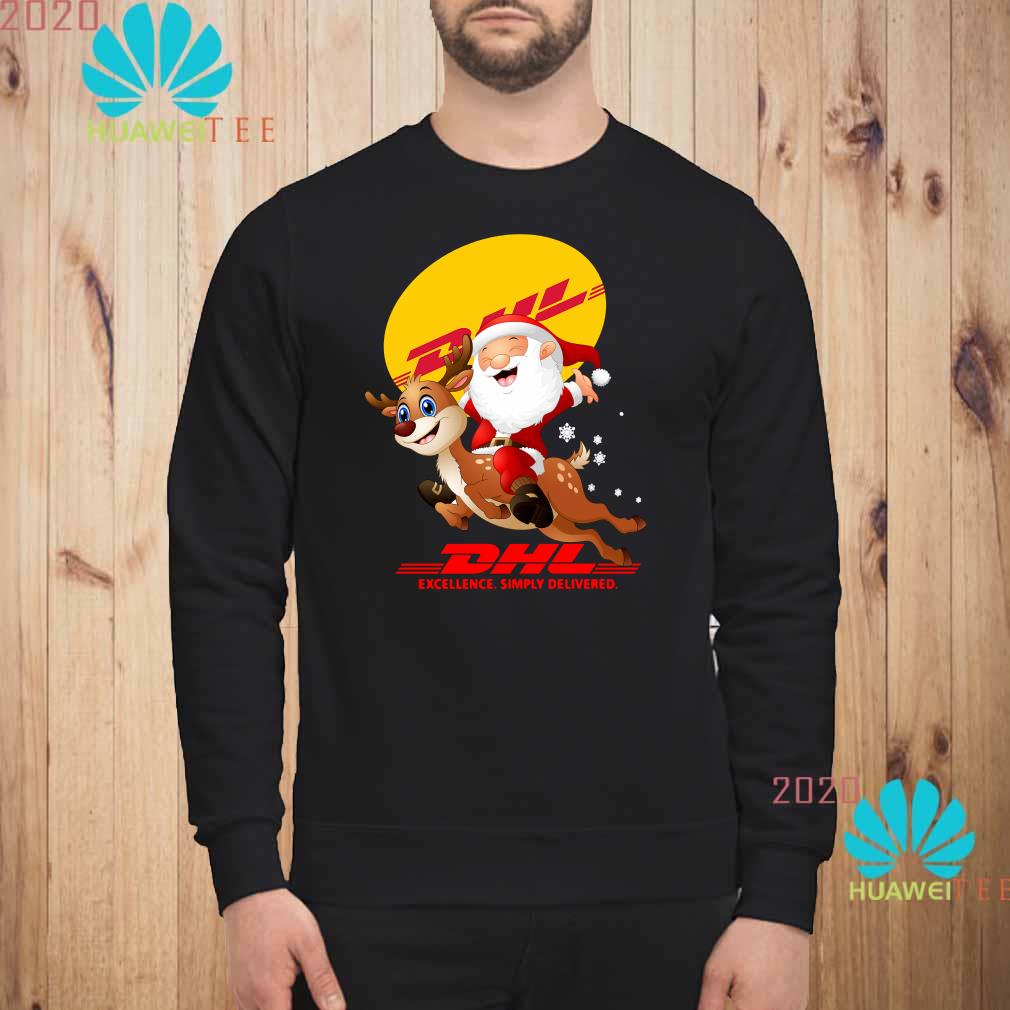 Santa Claus Riding Reindeer DHL Excellence Simply Delivered Sweatshirt