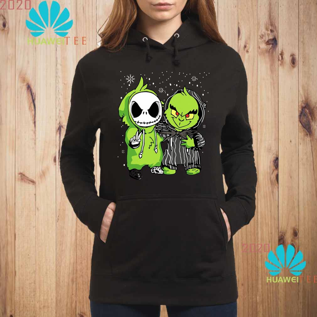 Baby Grinch And Jack Skellington Christmas Hoodie