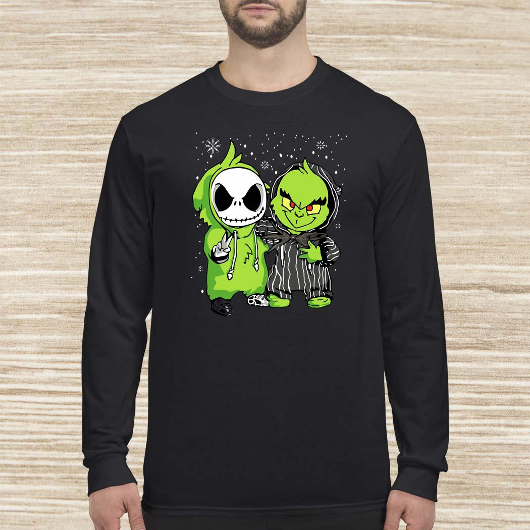 Baby Grinch And Jack Skellington Christmas Long Sleeved