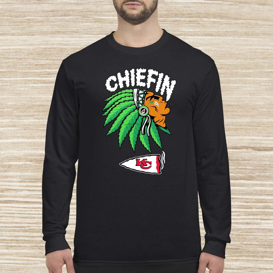Kansas City Chiefs Chiefin Weed Smoking Indian Long-sleeved