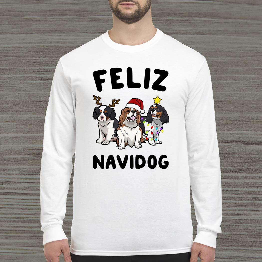 Cavalier King Charles Spaniel Feliz Navidog Long-sleeved