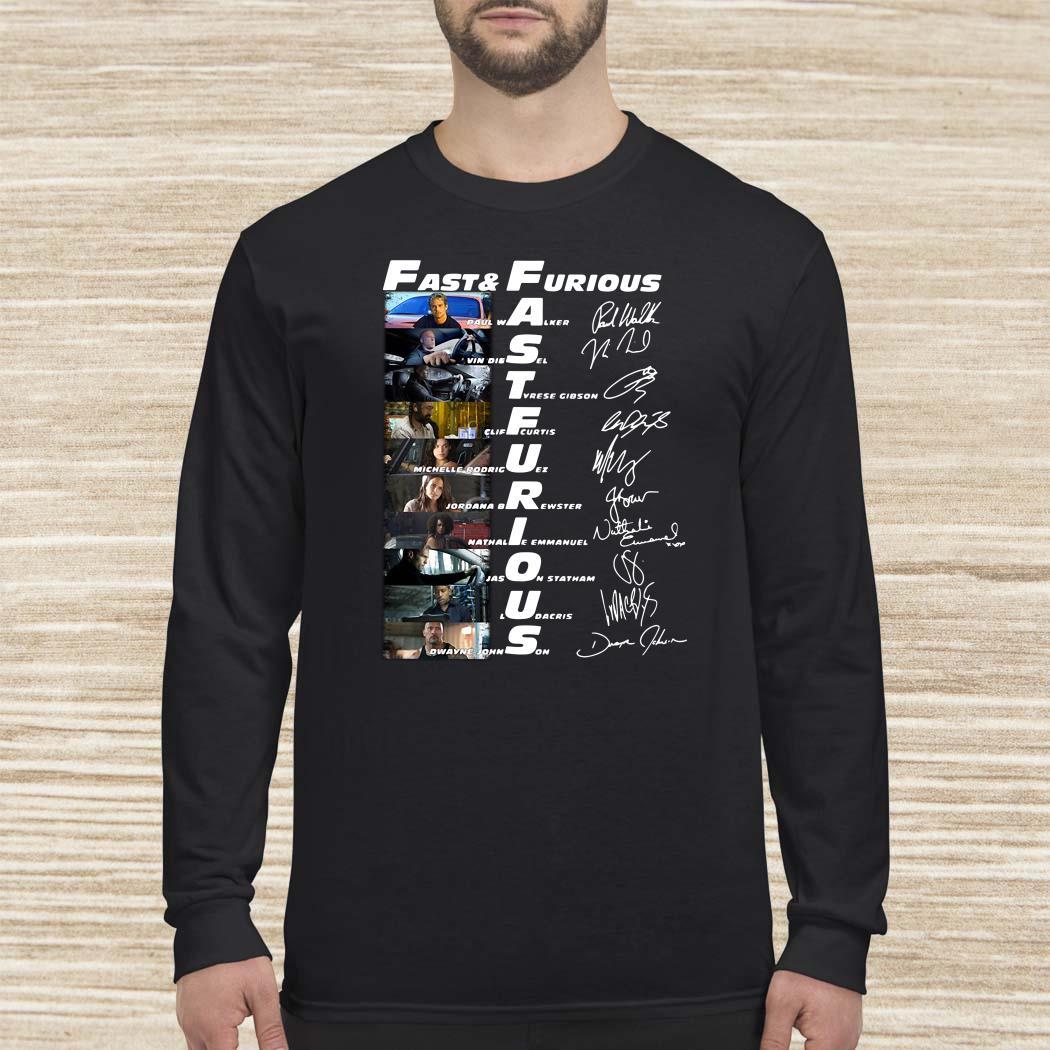 Fast And Furious Paul Walker Vin Diesel Tyrese Gibson Signatures Long-sleeved
