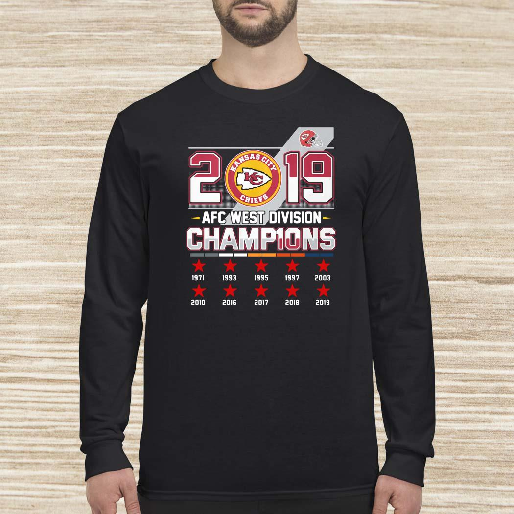 Kansas City Chiefs 2019 AFC West Division Champions Long-sleeved