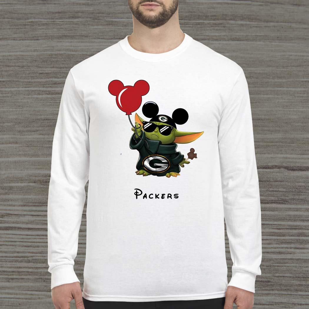 Baby Yoda Mickey Mouse Green Bay Packers Long-sleeved