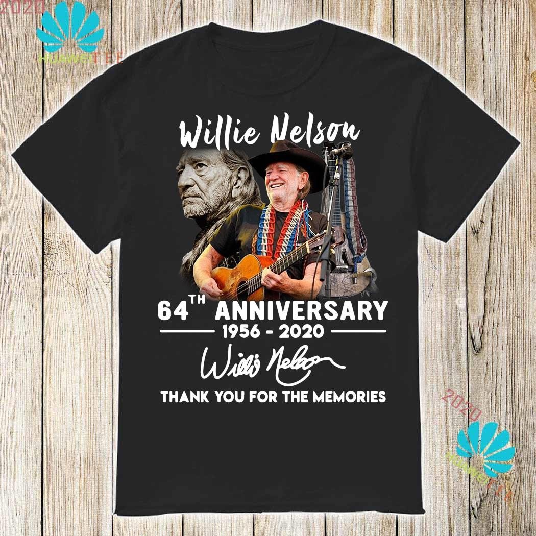 Limited Willie Nelson signed 64th anniversary 1956-2020 thank you T-Shirt S-5XL