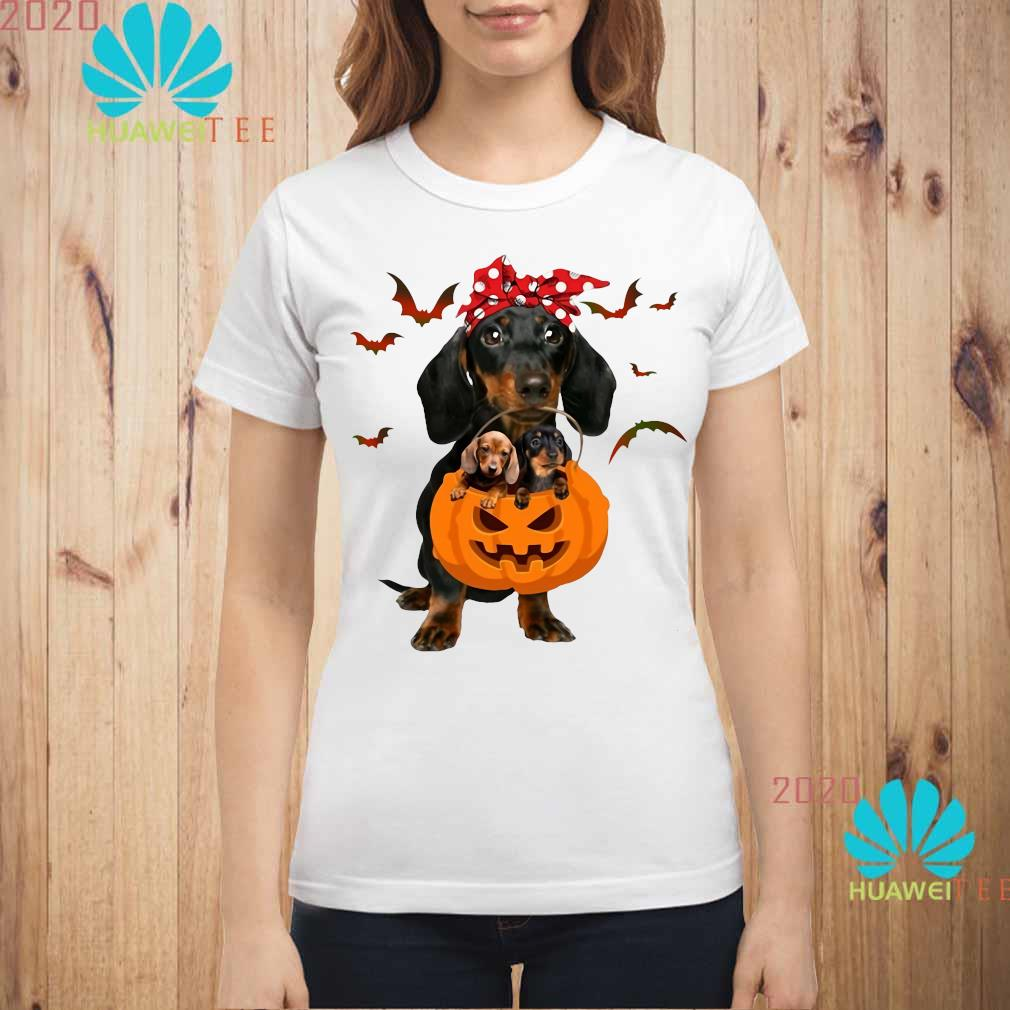 Dachshund Pumpkin Halloween Shirt ladies-shirt