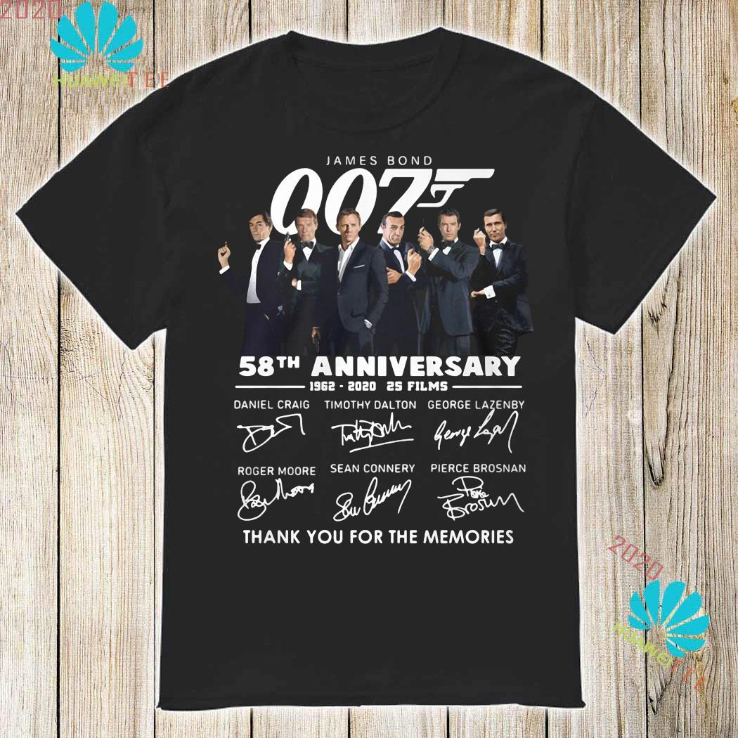 James Bond 007 58th Anniversary 1962 2020 Thank You For The Memories Signatures Shirt