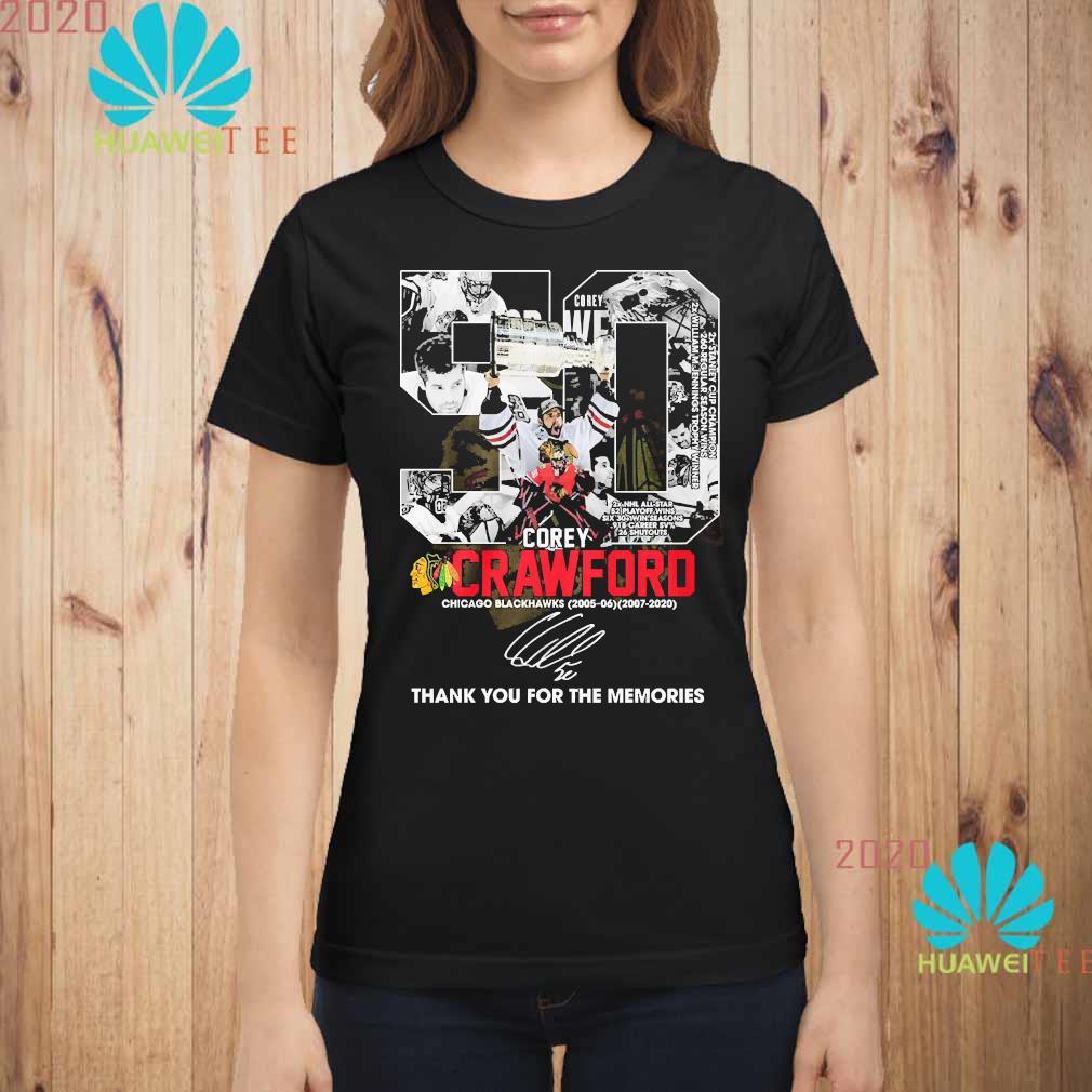 50 Corey Crawford Chicago Blackhawks Thank You For The Memories Shirt ladies-shirt