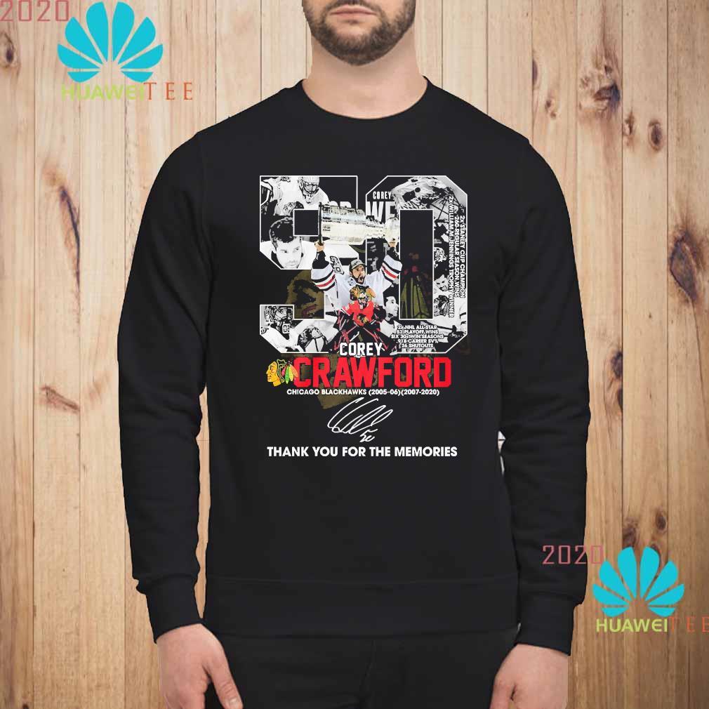 50 Corey Crawford Chicago Blackhawks Thank You For The Memories Shirt sweatshirt
