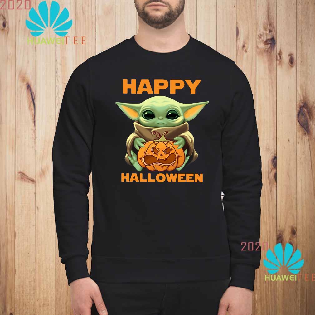 Baby Yoda Hug Pumpkin Happy Halloween Shirt Hoodie Tank Top Sweater And Long Sleeve T Shirt