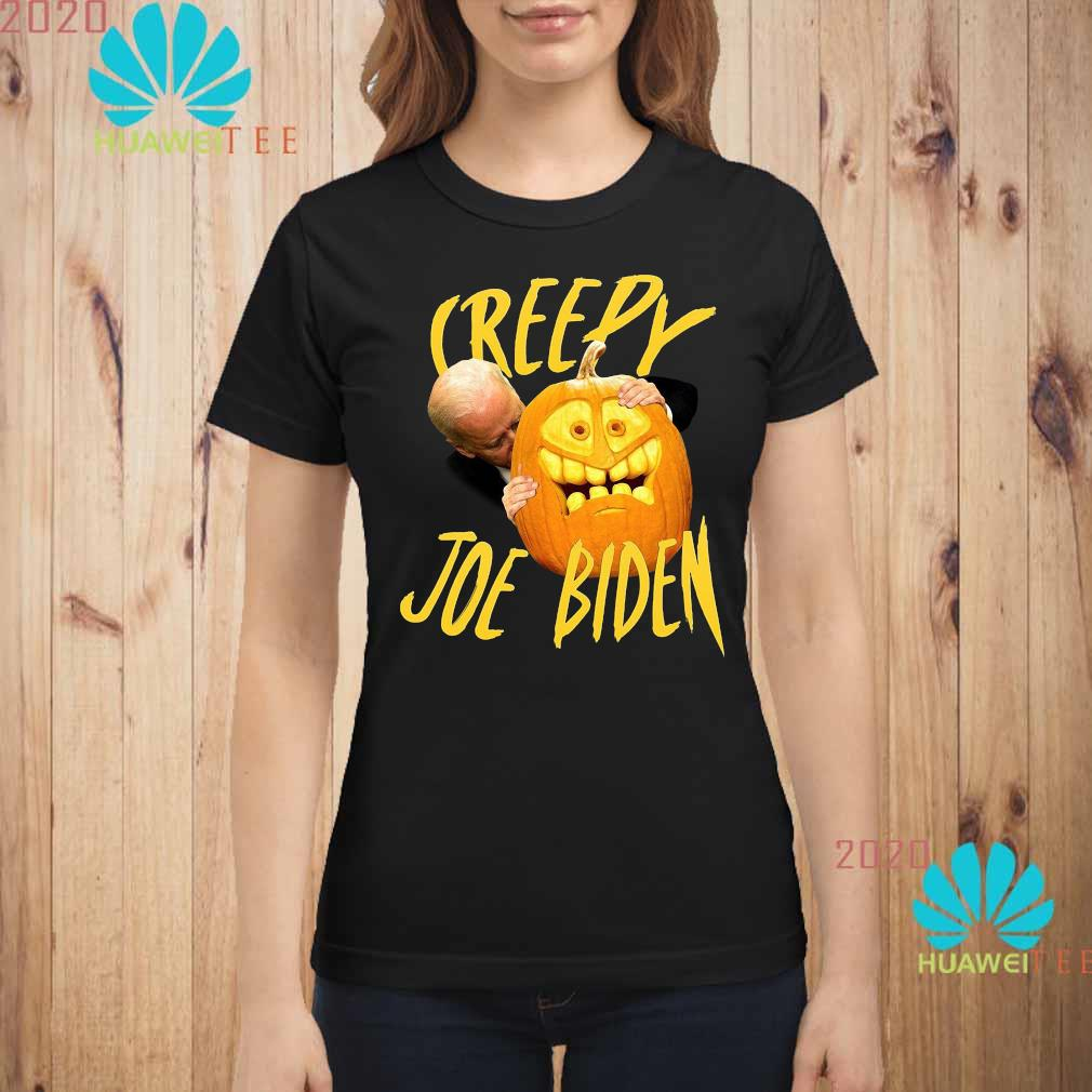 Joe Biden Hug Pumpkin Creepy Shirt ladies-shirt
