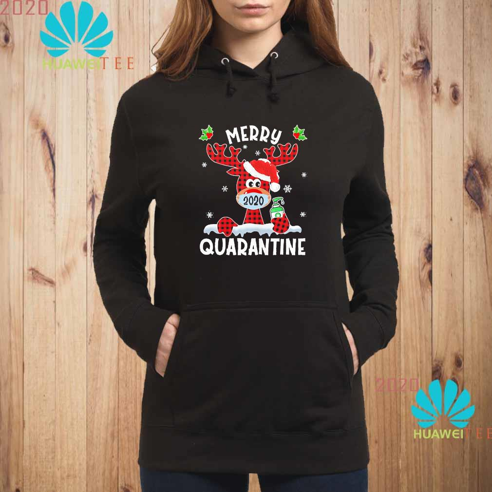 Merry Quarantine Christmas 2020 Reindeer Mask Family Pajamas Shirt hoodie