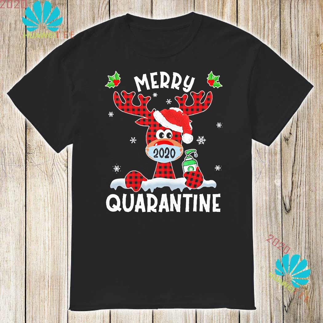Merry Quarantine Christmas 2020 Reindeer Mask Family Pajamas Shirt