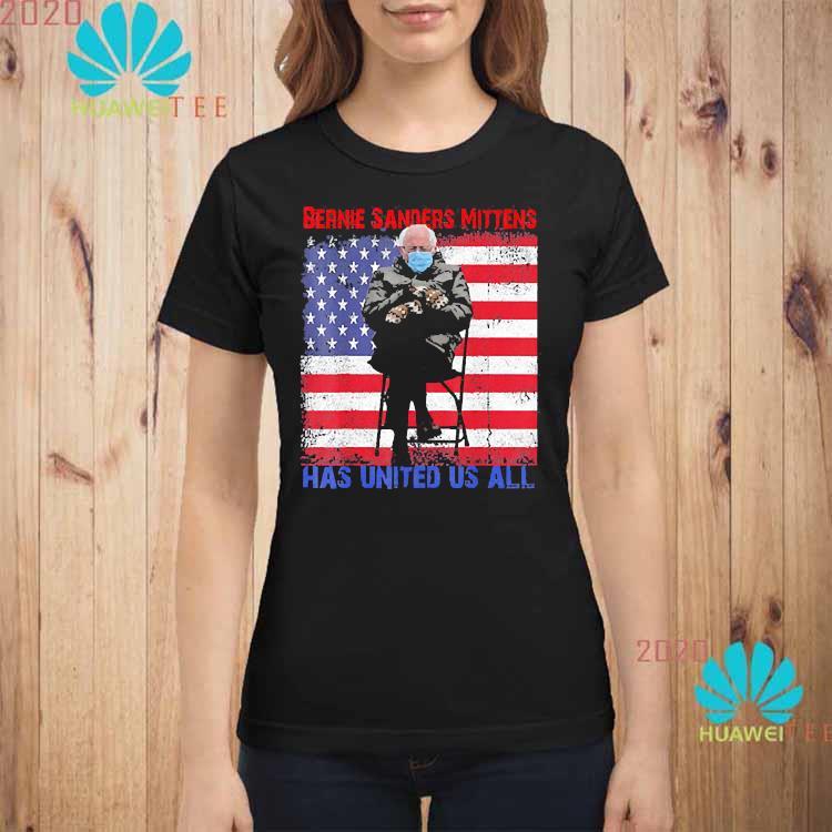 Bernie Sanders Mittens Sitting Inauguration USA Flag Shirt ladies-shirt