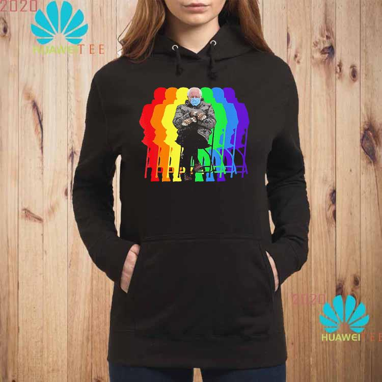 Bundled Up Bernie Sanders Meme Funny Mittens Chair Rainbow Shirt hoodie