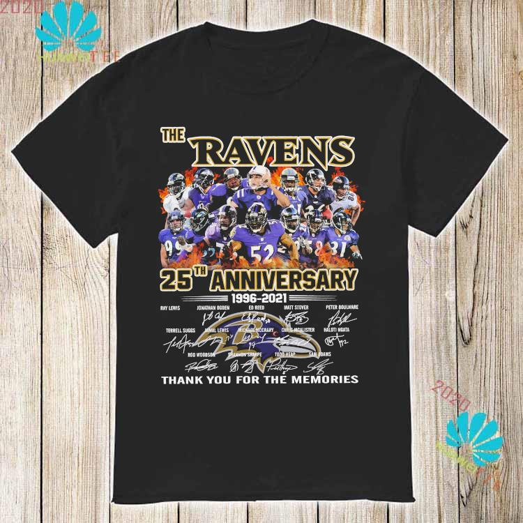 The Ravens 25th Anniversary 1996 2021 Thank You For The Memories Signatures Shirt